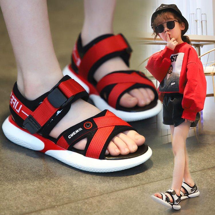 儿童凉鞋2019新款夏季韩版男童小熊鞋小学生软底中大女童沙滩鞋子
