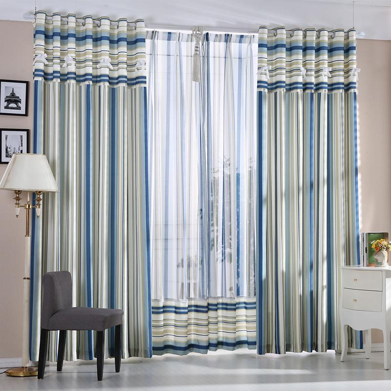 飘窗现代简约窗帘布定制客厅落地窗卧室竖条地中海窗帘成品包邮