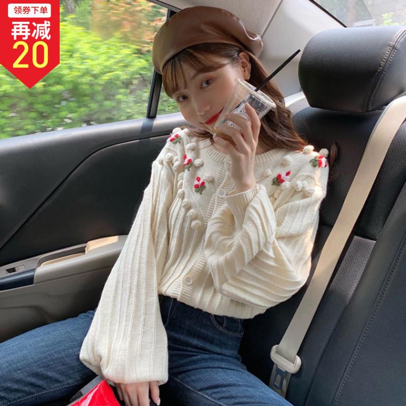 秋装2019新款小清新甜美花朵刺绣宽松圆领单排扣长袖针织毛衣女装