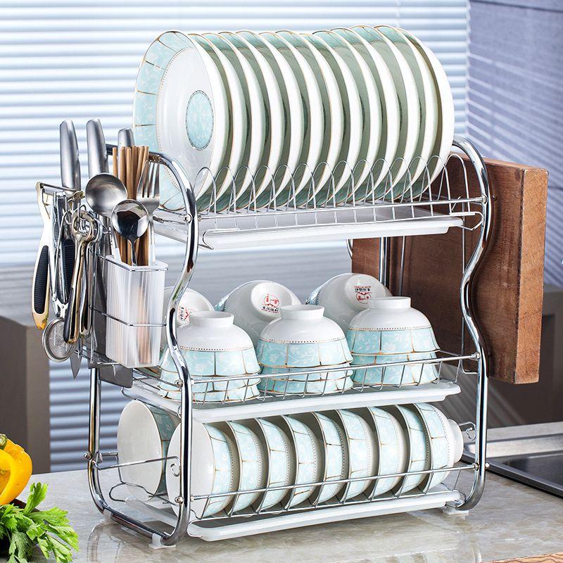 不锈钢电器置物架三层3o4室外有门厨房晾放盘子碗碟沥水碗碗筷