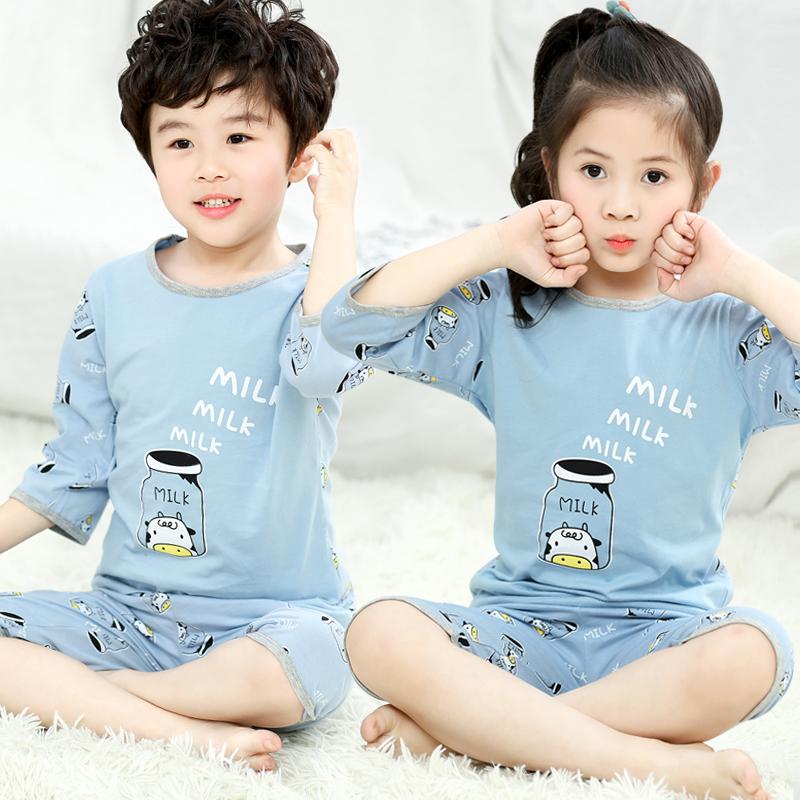 点击查看商品:儿童睡衣夏季薄款纯棉全棉男孩七分袖男童居家服中大童女童空调服