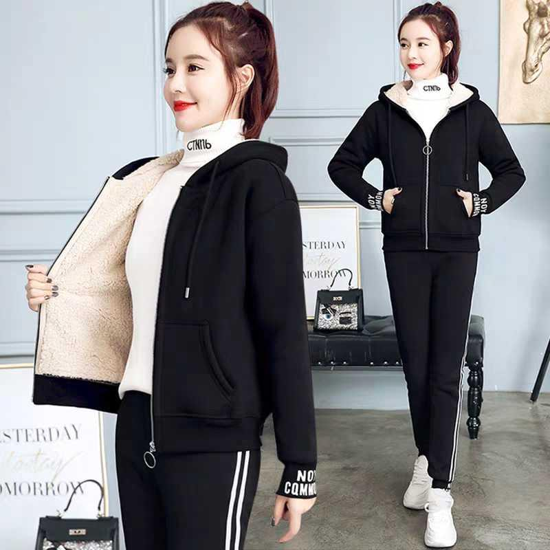 羊羔绒卫衣女时尚两件套2019冬季新款加绒加厚保暖运动服休闲套装