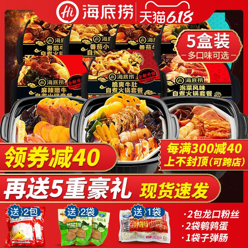 海底捞自煮小火锅5盒套餐组合一箱自发热加热速食自热素食荤菜版6