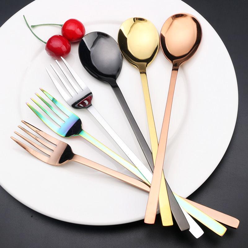 韩果镀钛不锈钢勺子叉子餐具创意可爱长柄成人餐勺调羹饭勺水果叉
