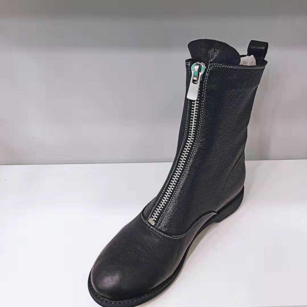 直播特卖款——guidi马丁靴女新款英伦风拉链短靴韩版百搭单靴子
