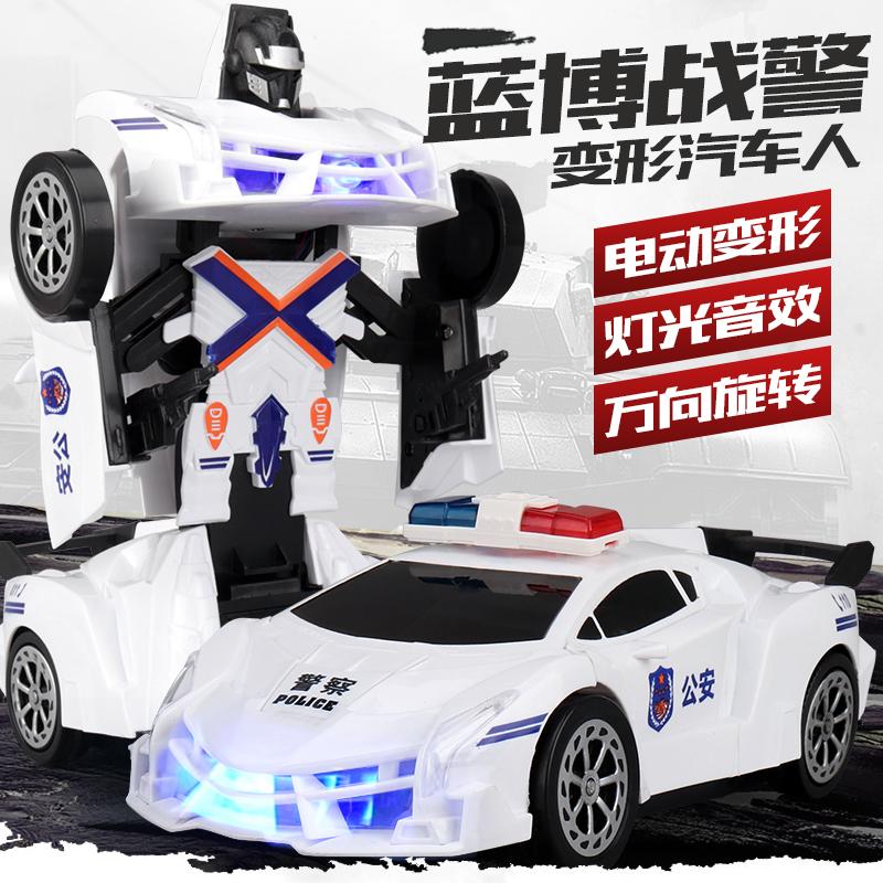 6691警车变形玩具电动灯光音乐感应万向自动变形玩具汽车玩具032D