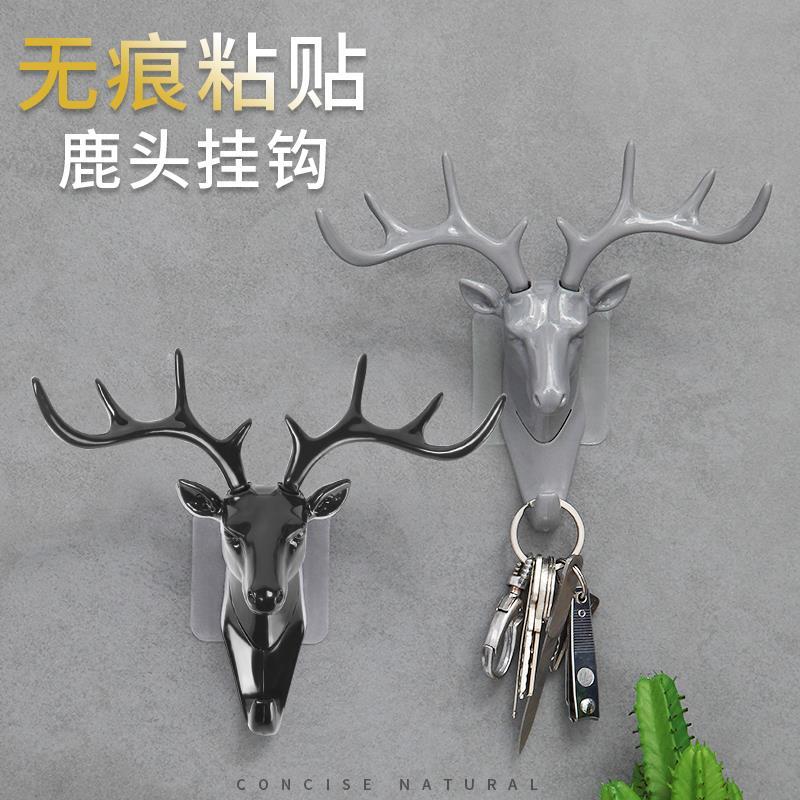 鹿角美式家居装饰挂钩墙上置物架壁挂创意墙面个性鹿头墙壁钥匙架图片