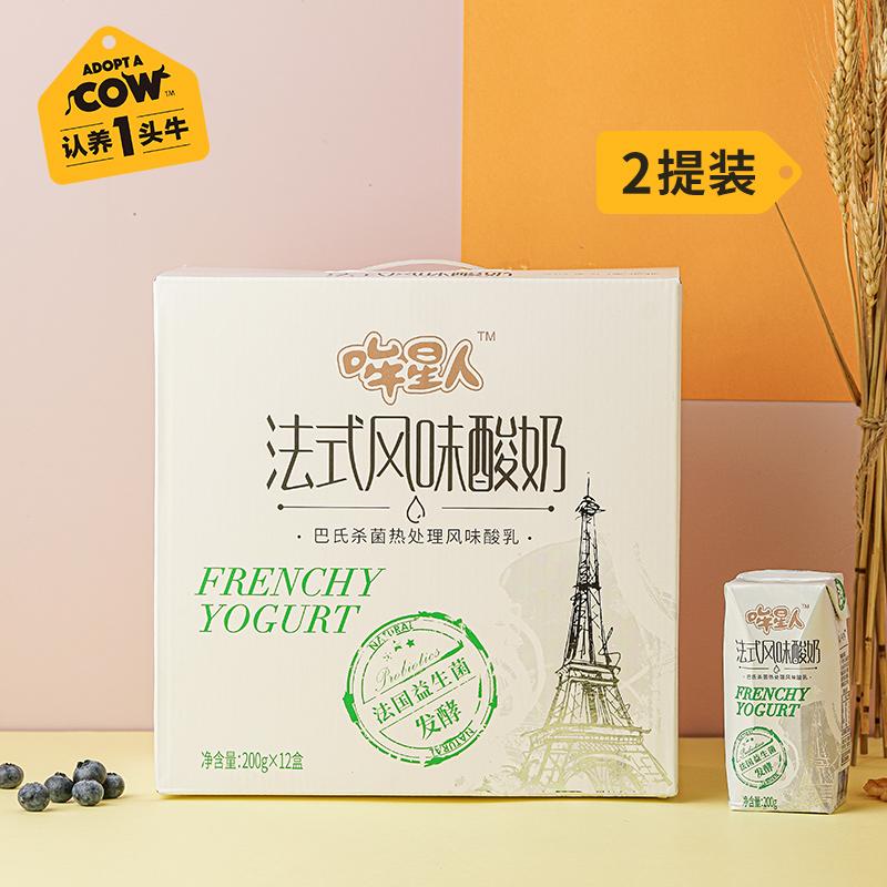 哞星人常温原味酸奶200g*12盒*2箱 认养一头牛风味法式酸牛奶整箱