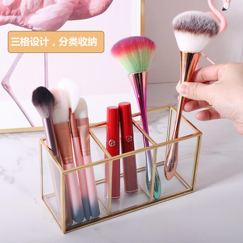 热卖的玻璃化妆刷桶化妆品收纳盒棉签盒彩妆蛋粉扑化妆棉整理透明