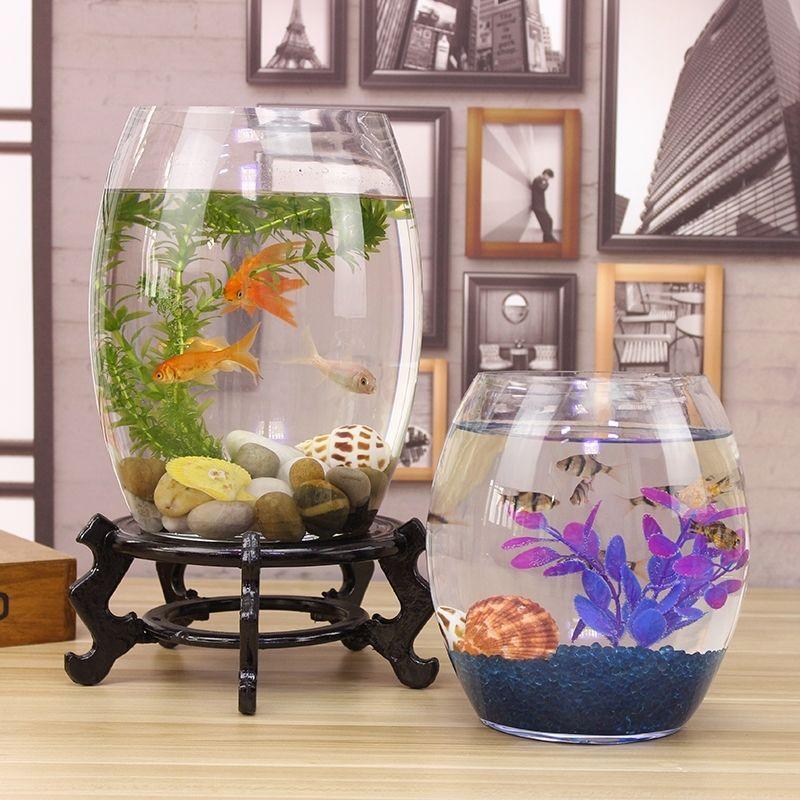 创意桌面鱼缸生态圆形玻璃金鱼缸乌龟缸迷你小型造景家用水族箱
