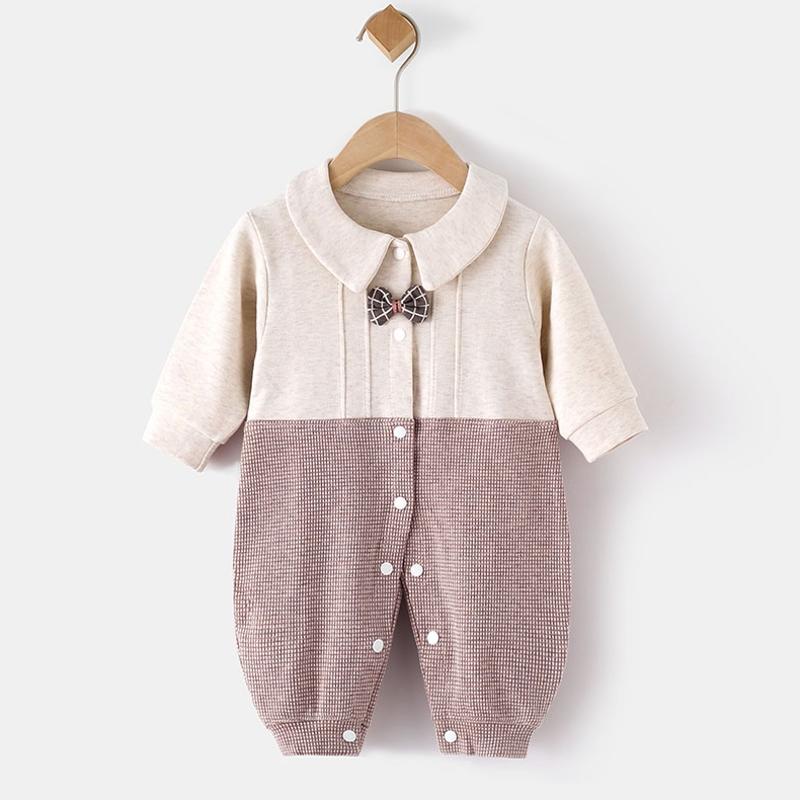 婴儿外出连体衣春秋冬薄款宝宝外穿时尚纯棉新生长袖哈衣服潮秋装