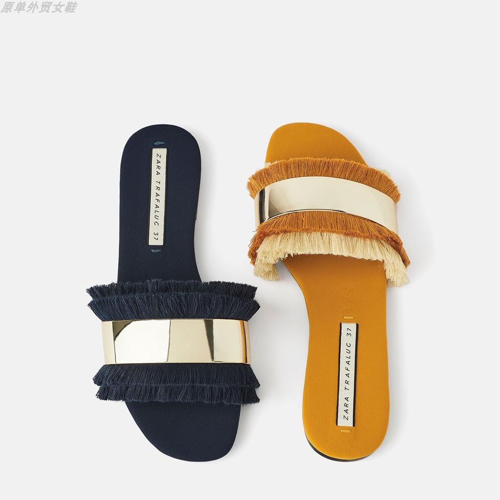 ZARA DTM 新款女鞋 2019夏款金属流苏饰平底凉鞋拖鞋 17837001010