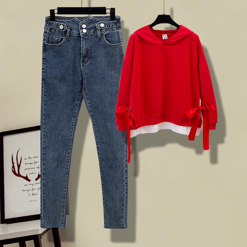 秋季洋气女装套装新款纯色蝴蝶结卫衣+高腰小众牛仔裤女神两件套