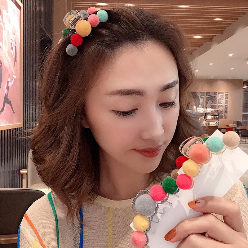 彩色毛球刘海夹子头饰女韩国网红时尚刘海发夹后脑勺大号抓夹发卡