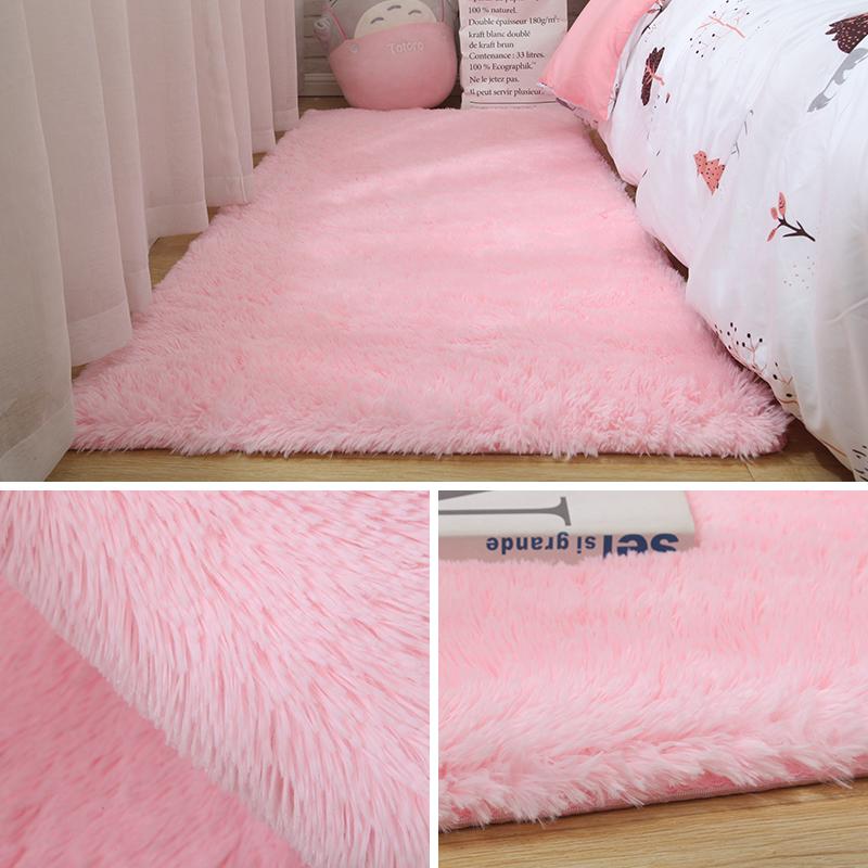长毛绒地毯卧室床边毯ins网红同款可爱房间满铺定制灰色毛毯地垫
