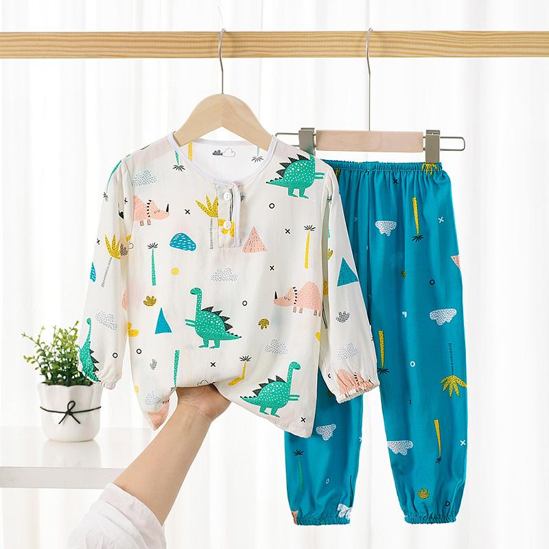 夏季儿童绵绸睡衣套装薄人造棉男女童长袖灯笼长裤防蚊空调家居服