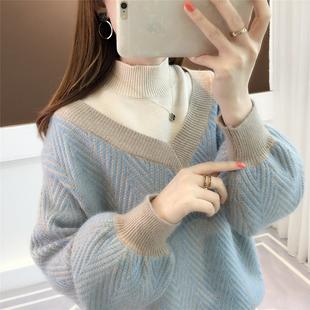 高领假两件毛衣女2018新款秋冬套头宽松韩版学生灯笼袖加厚打底衫