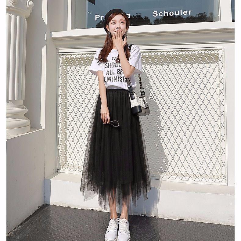 半身裙女春中长款网纱裙新款黑色长裙百褶裙不规则仙女裙子夏