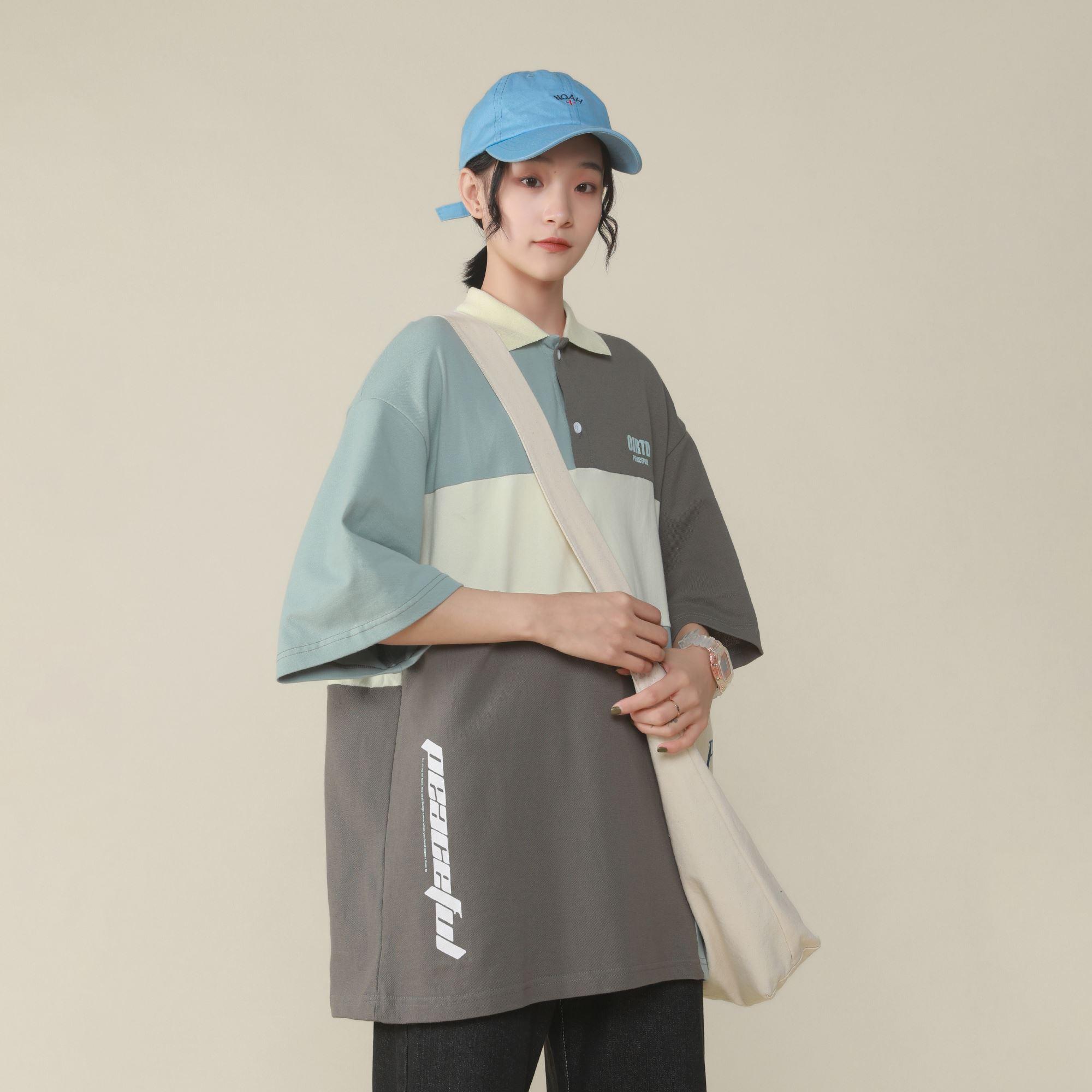 @绿光 拼色polo衫短袖女2020夏季新款宽松学生上衣T恤女生韩版潮