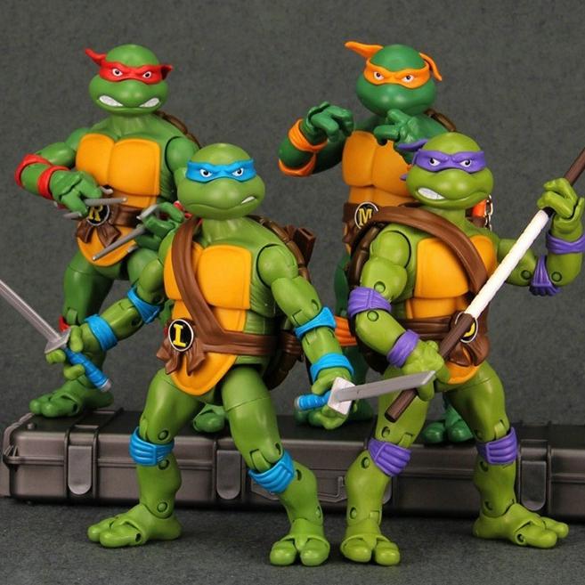 忍者神龟手办玩具拉斐尔模型公仔玩偶井盖武器动画游戏经典电影版