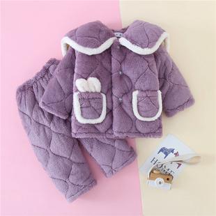 儿童法兰绒睡衣冬季三层夹棉加厚家居服套装小孩子女童珊瑚绒保暖
