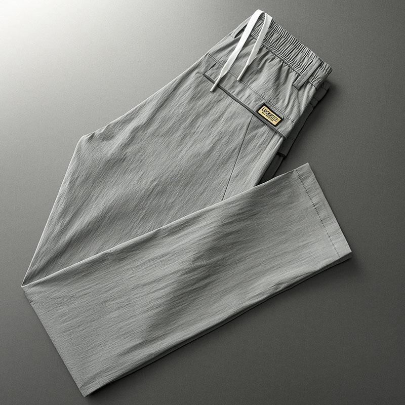 夏季松紧腰抽绳超薄冰丝休闲裤男宽松直筒百搭薄款西裤男修身长裤