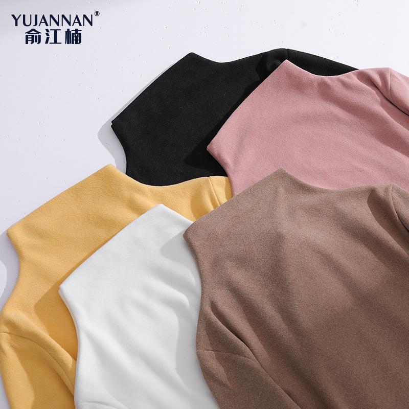 秋冬半高领长袖打底衫T恤女内搭加绒款修身百搭紧身上衣韩版加厚