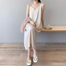 吊带睡裙女性感长式睡衣裙子夏hz11宽松可pk面雪纺连衣裙薄