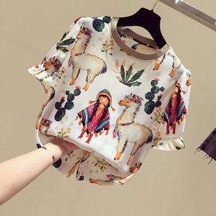 印花雪纺衫女短袖2020新款韩版宽松白色T恤民族风洋气小衫上衣夏图片