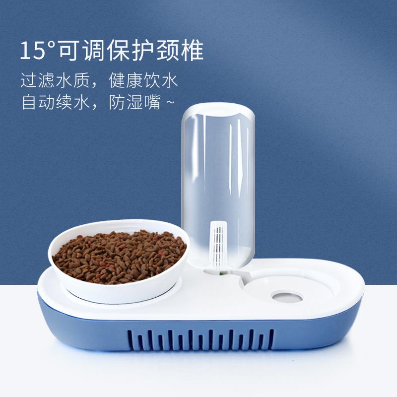 猫碗双碗自动饮水食盆15度保护颈椎猫食碗猫粮碗水碗猫咪用品