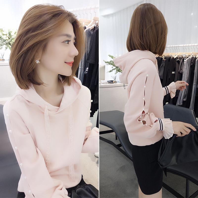 韩谷苏春装2020年新款女装欧洲站粉色甜美减龄连帽短款套头卫衣潮