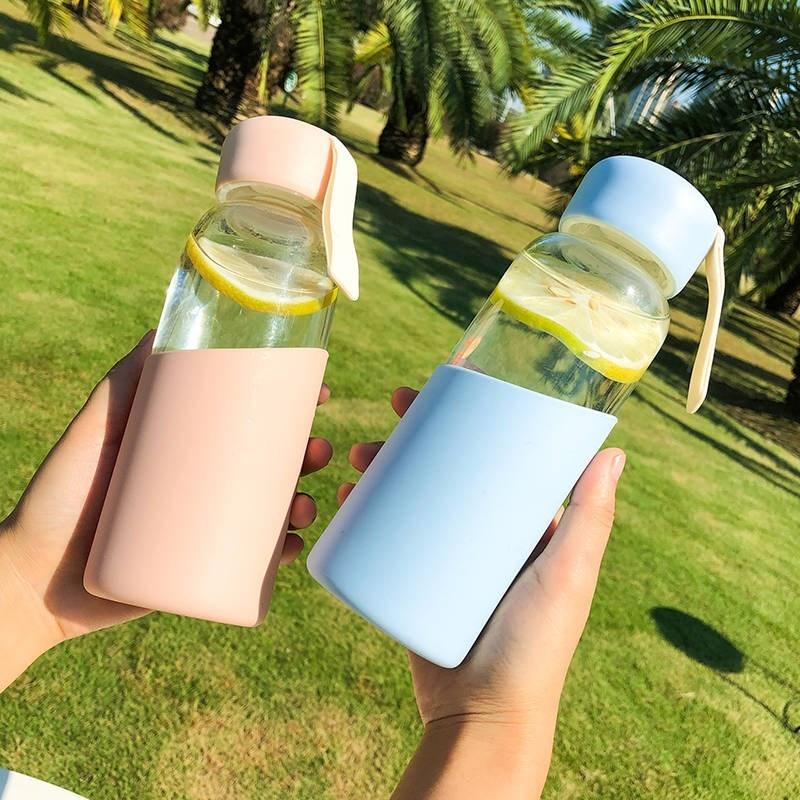 玻璃水杯子少女简约便携ins风韩国清新可爱森系创意个性潮流水瓶