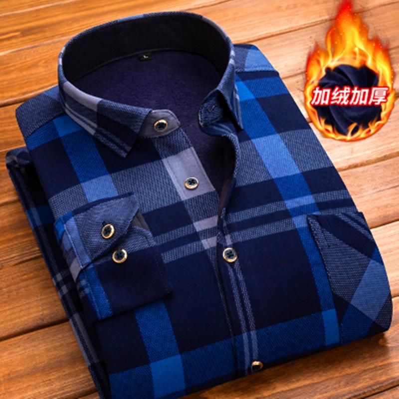 保暖衬衫男士长袖中年休闲加绒加厚男上衣中老年爸爸装格子衬衣潮