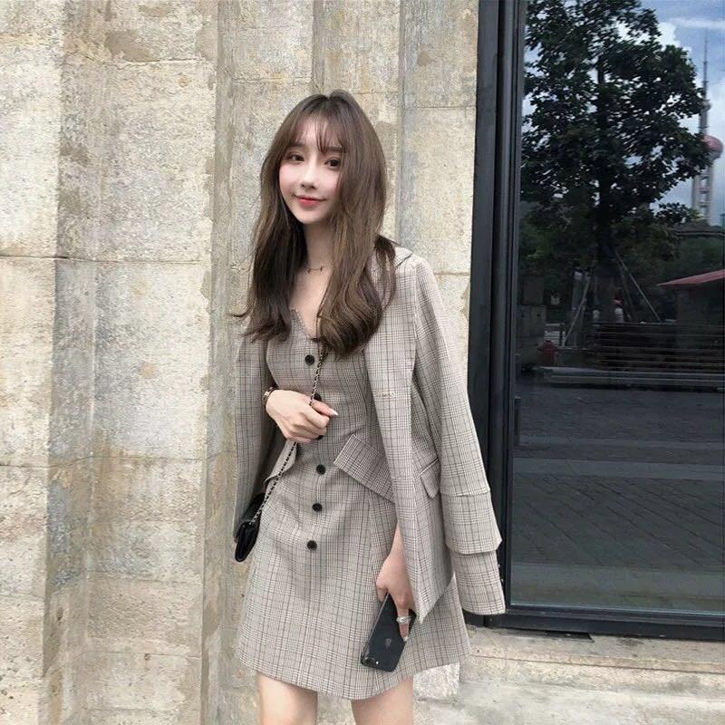 秋装2019年新款套装女职业西装裙小香风高冷御姐风时尚气质两件套