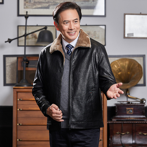 Dad winter jacket middle-aged and elderly plus velvet thick section 40 leather 50-year-old autumn and winter middle-aged men's leather jacket