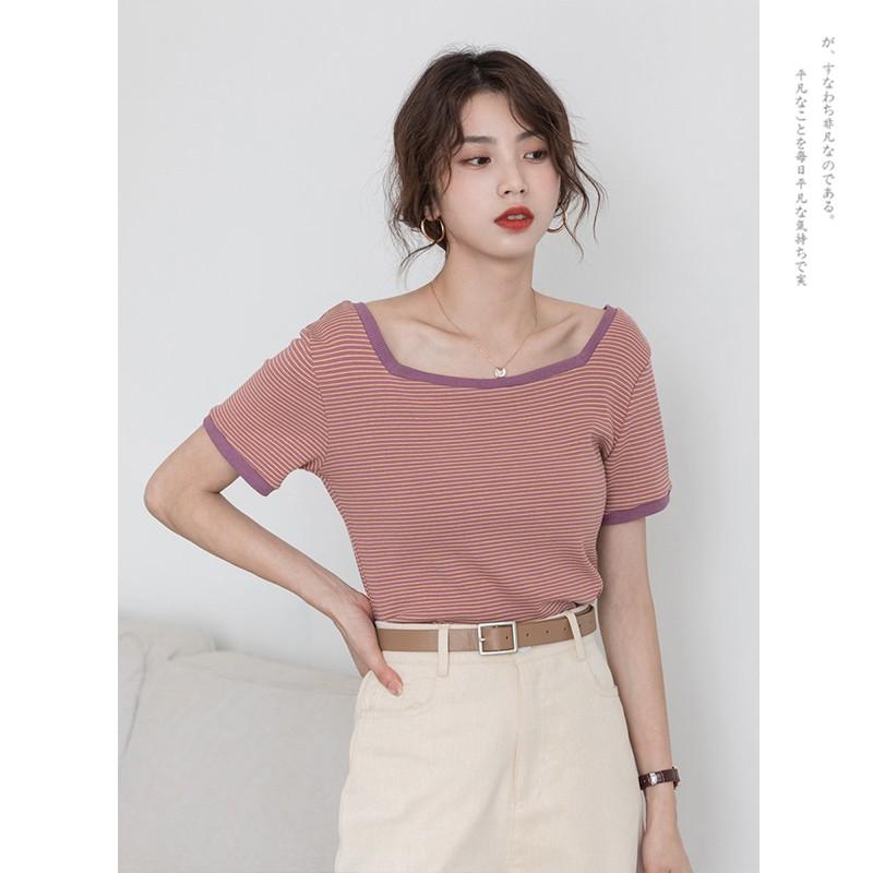 修身显瘦复古法式方领上衣女夏2020新款小清新条纹短款短袖T恤潮