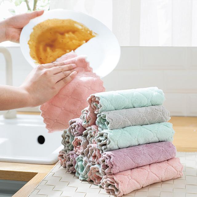 洗碗布巾抹布家务清洁懒人不掉毛不沾油厨房用品毛巾去油家用吸水