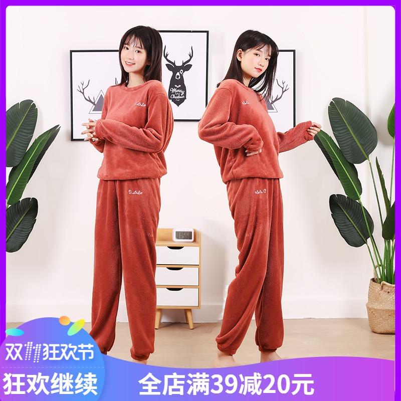 网红仙女暖暖裤套装珊瑚绒休闲可外穿家居睡衣秋冬季大码两件套
