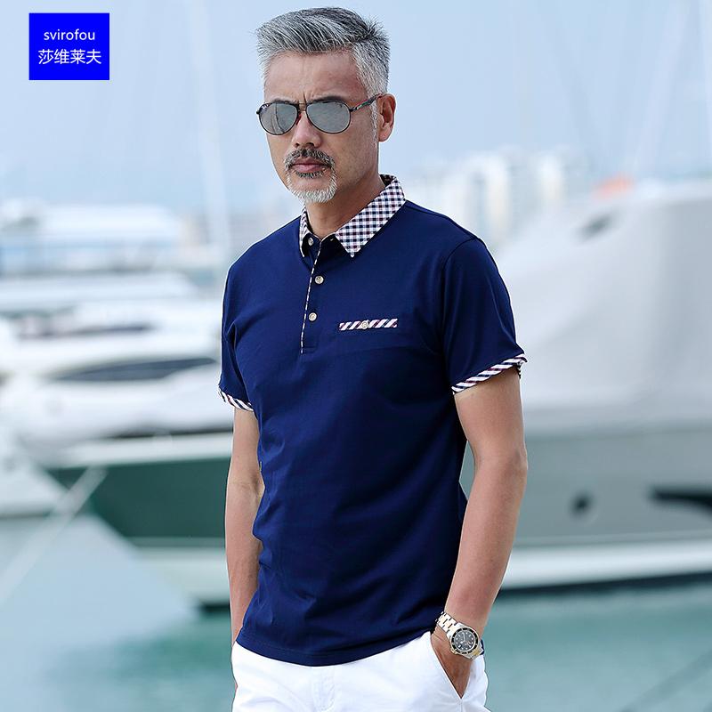 爸爸短袖t恤男夏季40-50岁中年男夏装纯棉翻领爷爷中老年人POLO衫