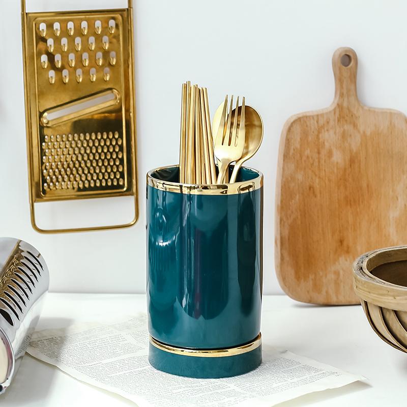 北欧式轻奢祖母绿筷子筒笼陶瓷家用防霉厨房厨具刀叉勺筷沥水笼