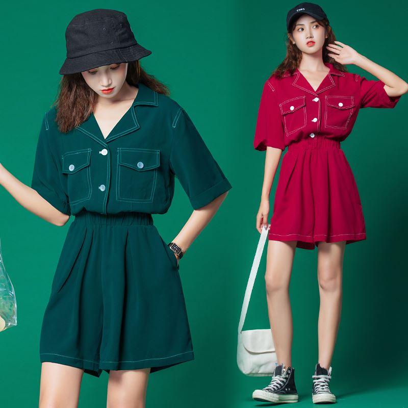 日系学生工装五分短裤阔腿西装连体裤套装女2020年夏季新款潮宽松