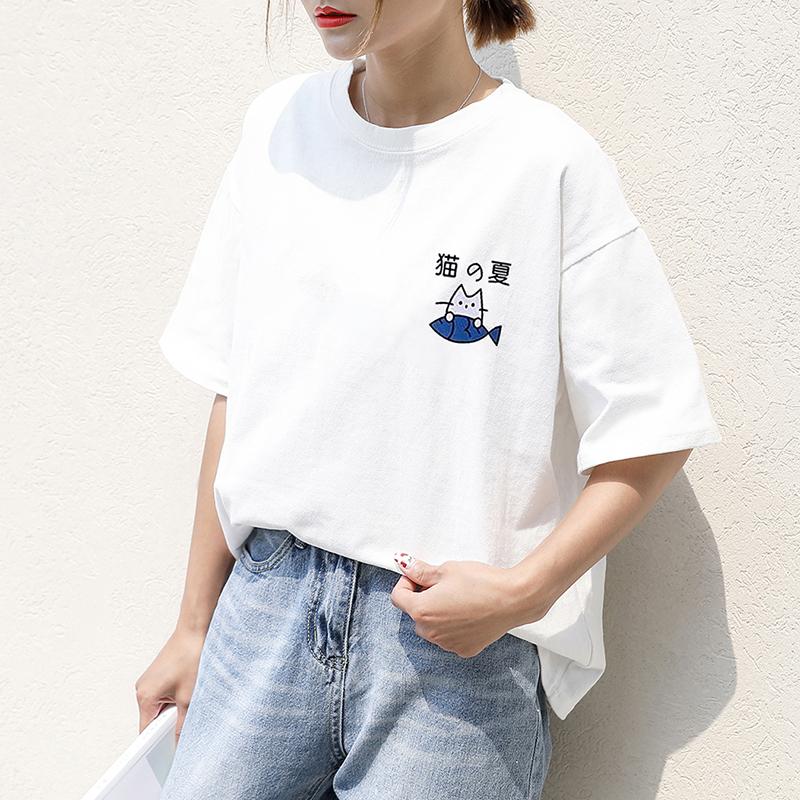 2019夏季新款纯棉t恤女韩版学生圆领宽松显瘦白色短袖大码半袖T潮