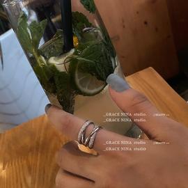 带出去炸街的!!镶锆石四层环绕开口调节戒指女指环银色个性时尚