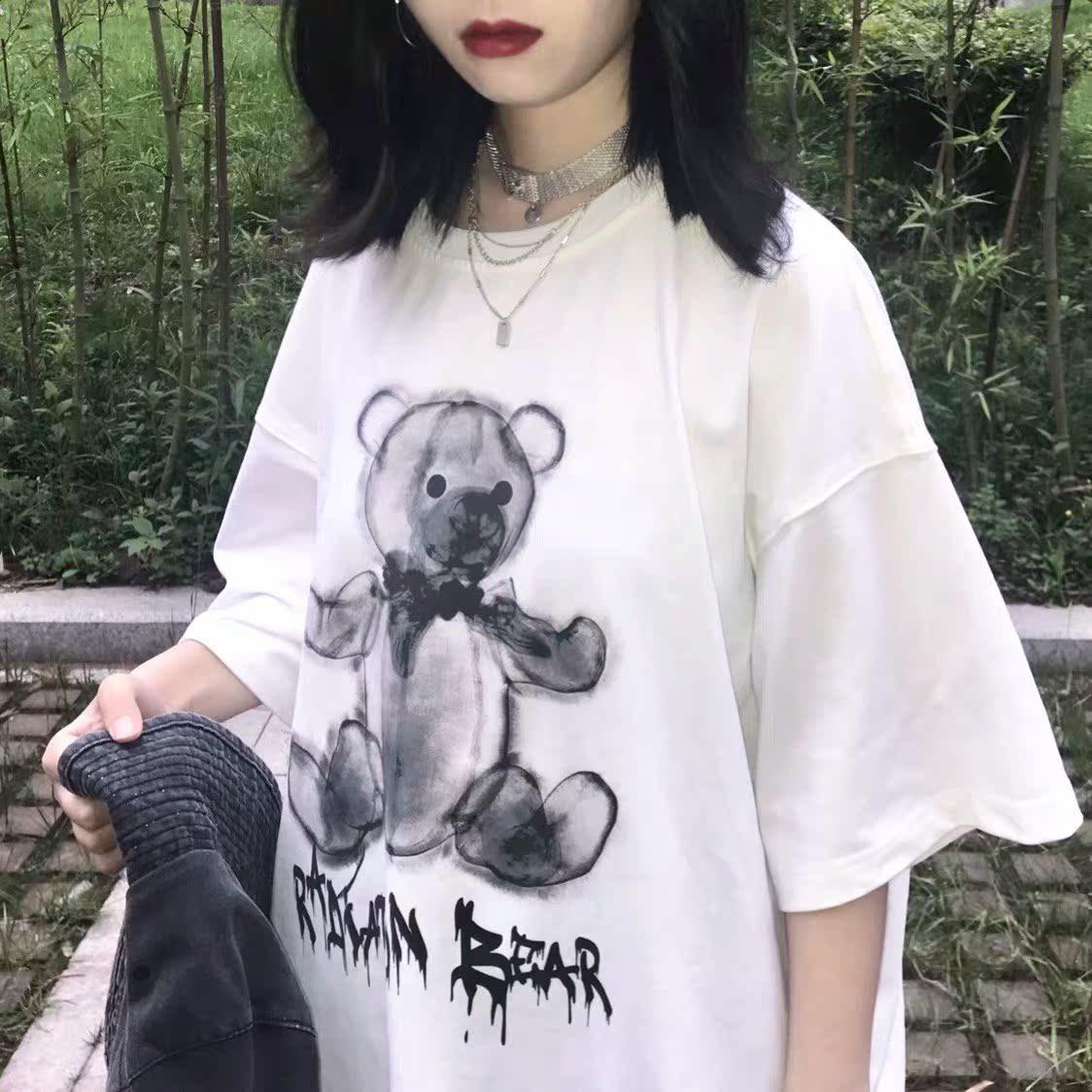 水墨小熊短袖黑白卡通印花T恤嘻哈宽松潮牌男女情侣装ins网红同款