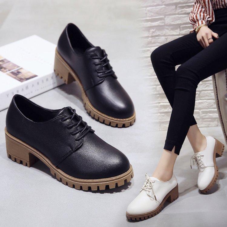 大东2019秋季新款韩版百搭粗跟小皮鞋女鞋中跟学生复古英伦风单鞋