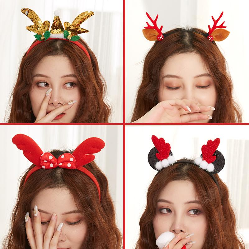 圣诞节装饰品鹿角发箍女生可爱成人儿童圣诞创意头扣圣诞装扮头饰