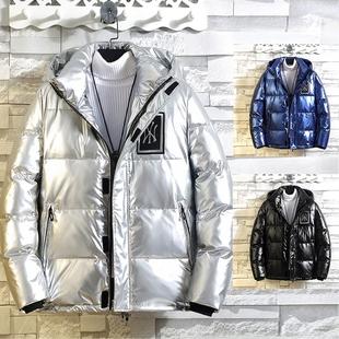羽绒服男士短款冬季外套潮牌男装2020新款亮面潮流帅气加厚冬装