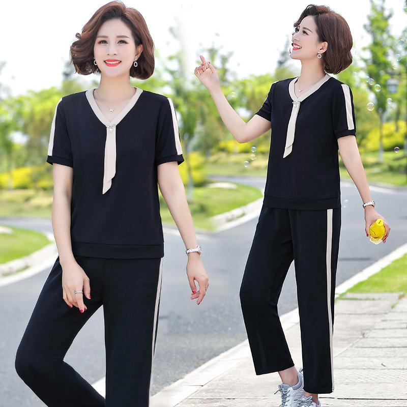 中年女夏装短袖运动服套装中老年年轻气质妈妈减龄衣服休闲两件套