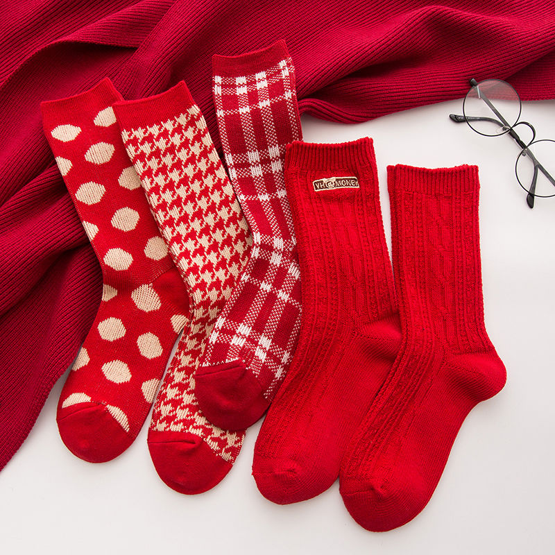 红袜子礼盒纯棉本命年男女士鼠年转运大红色圣诞袜情侣中长筒年袜