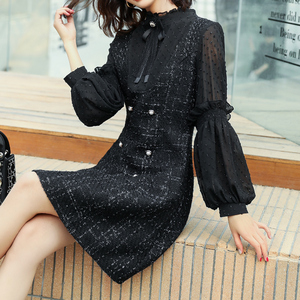 2020 New Women's Spring Doll Collar Tweed Spring Skirt Little Fragrant Fake Two-piece Bead Nordic Dress